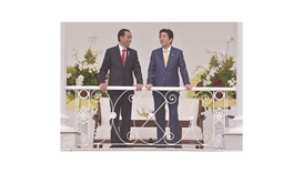 Indonesia's President Joko Widodo (left) and Japan's Prime Minister Shinzo Abe chat during their mee