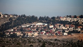 A picture taken from the Palestinian West Bank village of Turmus Ayya shows the Jewish settlement of