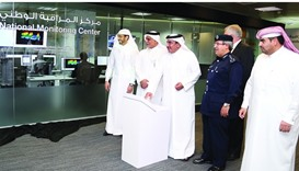 HE Jassim Seif Ahmed al-Sulaiti pressing a button to formally dedicate the upgraded National Monitor