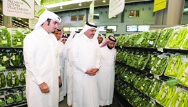 HE the Minister Mohamed bin Abdullah al-Rumaihi inspects Qatari vegetables