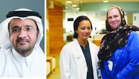 Dr Khalid al-Ansari (L),  SCAP team members Heather and Tawney (R)