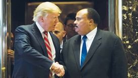 President-elect Donald Trump shakes hands with Martin Luther King III at Trump Tower in New York Cit