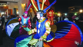 Roving performers at the 15-day Souq Waqif Spring Festival, which opened in Doha. PICTURE: Shemeer R