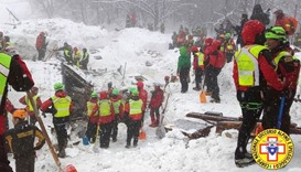 Rescue workers search around the Hotel Rigopiano in Farindola, central Italy, hit by an avalanche.