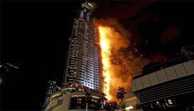 A fire engulfs The Address Hotel in downtown Dubai (file photo)