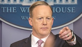 White House press secretary Sean Spicer holds the first of daily briefings of the Trump 