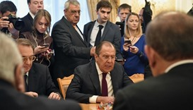Russian Foreign Minister Sergei Lavrov (C) meets with representatives of Syria's political oppositio