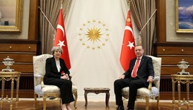 Tayyip Erdogan meets with Britain's Prime Minister Theresa May at the Presidential Palace in Ankara