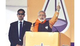 Prime Minister and BJP leader Narendra Modi addresses a rally in Faridkot, Punjab.
