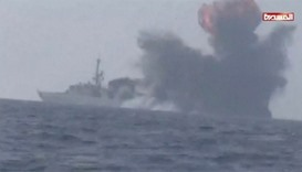 An explosion is seen onboard what is believed to be a Saudi warship, off the western coast of Yemen