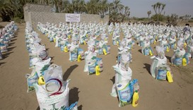 Food packets ready for distribution among Yemen's poor
