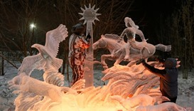 "Krasnoyarsk, Kazakhstan: Members of the ""Steppe Dwellers"" team of  work on ice sculptures"