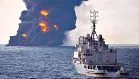 Burning Iranian oil tanker sinks after accident