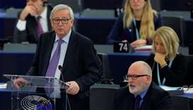 European Commission President Jean-Claude Juncker delivers a speech during a debate on the last Dece