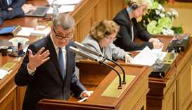 Czech Prime Minister Andrej Babis delivers his speech during a parliamentary session of the Czech Pa