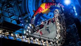 "Ice skaters compete during the ""Redbull Crashed Ice"", the Ice Cross Downhill World Championship"