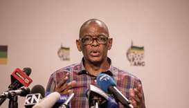 South African ruling Party African National Congress Secretary General Ace Magashule briefs the pres