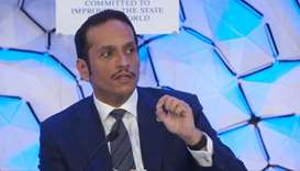 HE the Deputy Prime Minister and Foreign Minister Sheikh Mohamed bin Abdulrahman al-Thani speaking a