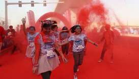 Girls participate in the Color Run