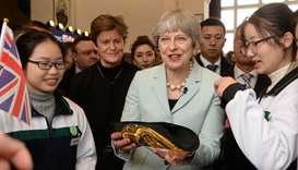 British Prime Minister Theresa May attends an event at Wuhan University in Wuhan, Hubei province