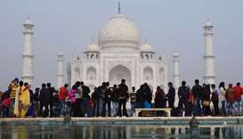 Crowds gather to visit the Taj Mahal in Agra