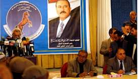 Sadeq Amin Abou Rass (2nd R) who was picked to succeed Yemen's slain former president Ali Abdullah S