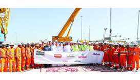 Senior Ashghal officials and project consultants at the completion of the western main tank sewer