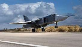 A Sukhoi Su-24 fighter plane taking off from Hmeimim air base, Syria.