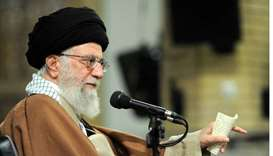 Iran's Supreme Leader Ayatollah Ali Khamenei gestures as he speaks