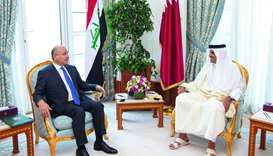 Amir, Iraqi president hold talks to enhance ties