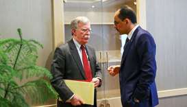 U.S. National Security Adviser John Bolton and his Turkish counterpart Ibrahim Kalin (R)