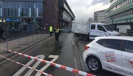 The car ramming scene cordoned off by police in Bottrop.