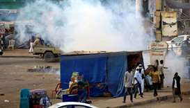 A tear gas canister fired to disperse Sudanese demonstrators, during anti-government protests in the