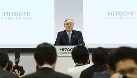 Hitachi Chief Executive Officer Toshiaki Higashihara attends a news conference