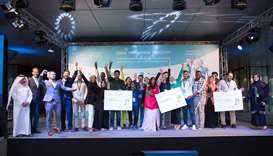 Yosouf Abdulrahman Saleh and Alar Kolk with the winning teams of the second edition of the Arab Inno