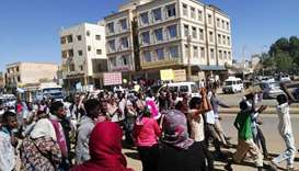 Sudanese demonstrators gather in Khartoum's twin city Omdurman