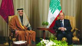 His Highness the Amir Sheikh Tamim bin Hamad al-Thani meets Lebanese President General Michel Aoun i