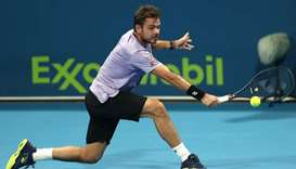 Switzerland's Stan Wawrinka in action against Russia's Karen Kachanov during the first round of the