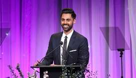In this file photo taken on November 12, 2018 Hasan Minhaj speaks