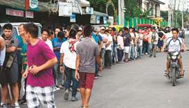 People line up to cast their ballot