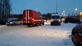 Emergency service vehicles arrive at the Khanty-Mansiisk airport