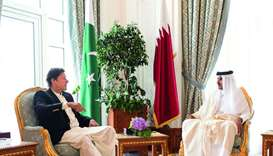 His Highness the Amir Sheikh Tamim bin Hamad al-Thani holds talks with Pakistan's Prime Minister Imr