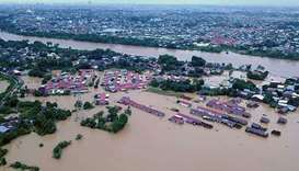 An aerial view of the flood situation in Gowa, Sulawesi