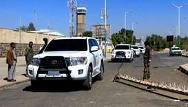 The motorcade of United Nations special envoy for Yemen Martin Griffiths following his arrival at Sa
