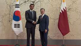 His Highness the Amir Sheikh Tamim bin Hamad Al-Thani with Korean President Moon Jae-in