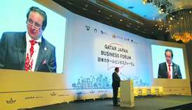 Sheikh Khalifa delivering his speech at the 'Qatar-Japan Business Forum' in Tokyo