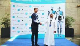 Yosouf Abdulrahman Saleh welcomes Alar Kolk at the opening of the Arab Innovation Academy 2019