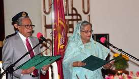 Sheikh Hasina sworn in (R) as Bangladesh's prime minister