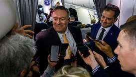 US Secretary of State Mike Pompeo speaks with the press on as he flies to the Middle East