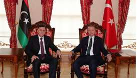 Turkish President Tayyip Erdogan meets with Libya's UN-recognised Prime Minister Fayez al-Sarraj in
